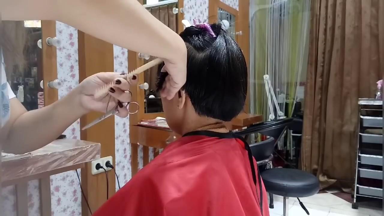 Cara belajar potong rambut pendek wanita - YouTube d87b7a6312