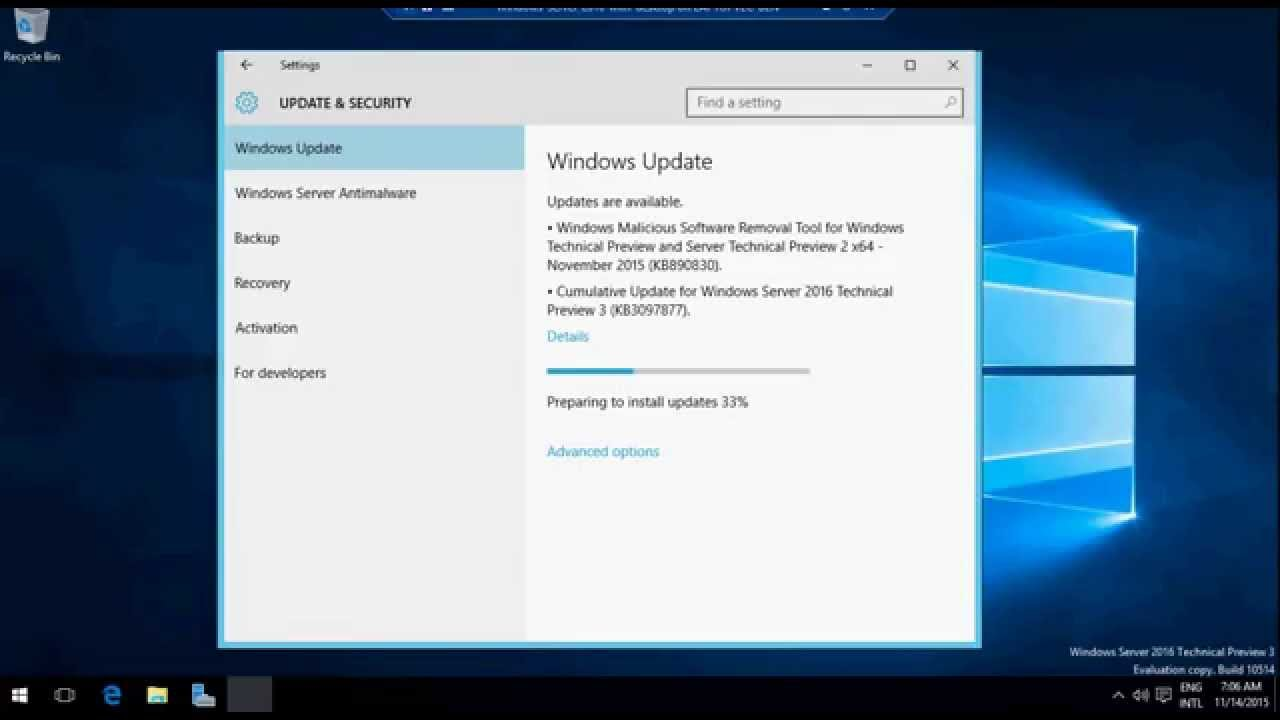 Windows 2016 TP 3 - updating GUI version with KB3097877 & 2 standard updates