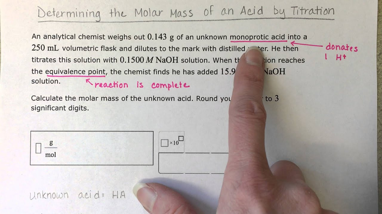 how to find molar mass of unknown acid