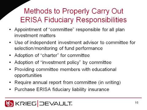 Key Roles in Your ESOP -- The Fiduciary Issues