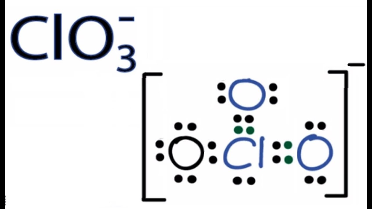 medium resolution of clo3 lewis structure how to draw the lewis structure for clo3 chlorate ion youtube