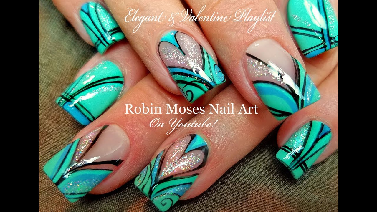 Holo Heart Striped Hand Painted Nails Beautiful Diy Nail Art