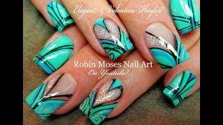Holo Heart Striped Hand Painted Nails | Beautiful DIY Nail Art Design Tutorial