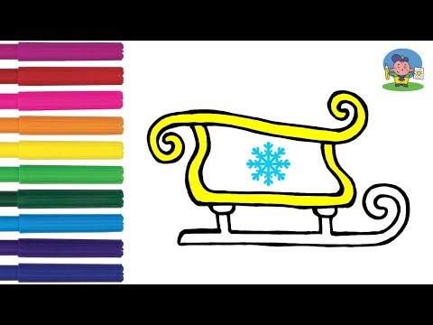 Как нарисовать САНИ ДЕДА МОРОЗА | НОВОГОДНИЕ РИСУНКИ для детей | How To Draw Sledge Of Santa Claus