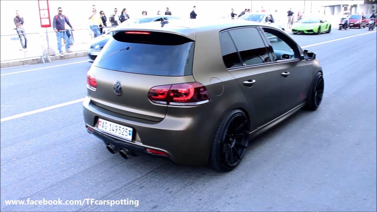 Superbe VW Golf 6 R Anti Lag Brutal Backfire In Monaco   YouTube