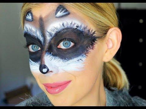 Cute and Easy Raccoon Mask Halloween Makeup