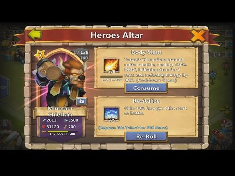 Castle Clash - Power Levelling Minotaur Chieftain!! Lvl 124 In 24 Hours!!