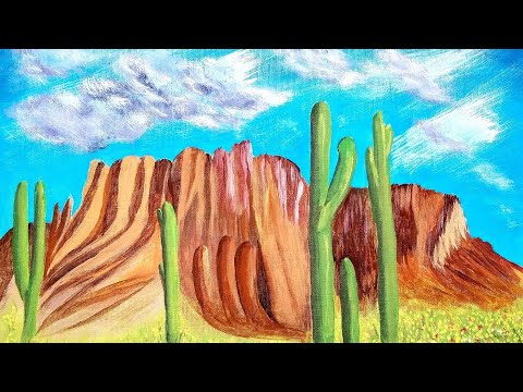 Painting Superstition Mountain in Acrylic Paints-Timelapse- Aurora's Art
