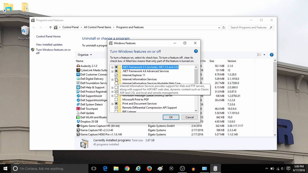 How to Turn Windows Features On or Off in Windows 10