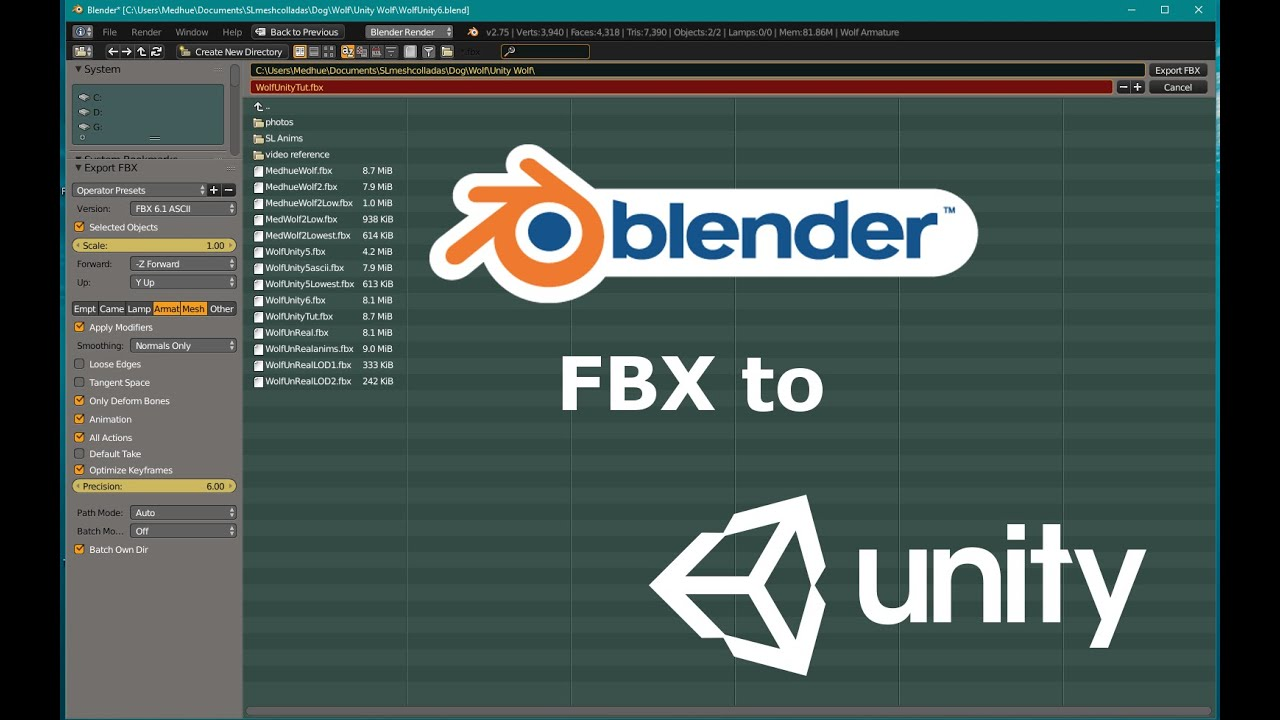 Export Blender FBX to Unity3D - Tutorial | Medhue Animations