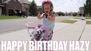 HAPPY BIRTHDAY HAZYL BINGHAM | LITTLE GIRL GETS HER FIRST BIKE ON HER BIRTHDAY | OPENING PRESENTS