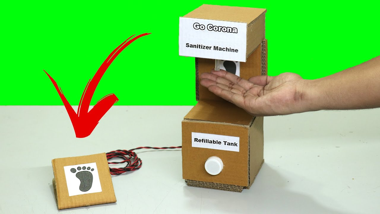 How to make Electric Hand Sanitizer Machine 2.0 easy way  Leg/Foot Operated | Science Projects