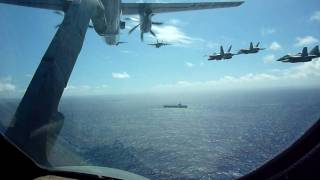 16 plane flyby of uss ronald reagan