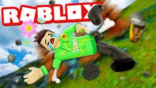 FALLS DOWN FOR A MOUNTAIN IN ROBLOX BROKEN BONES!