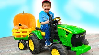 Damian and Darius Play Outdoor Activities  Riding on Tractor Fun Time