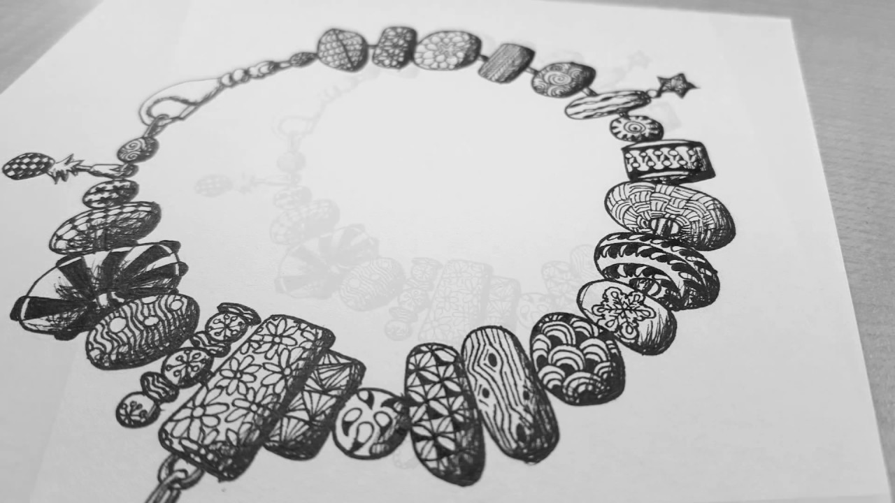 Zentangle BRACELET | Tangle Variation [Speed Drawing ...
