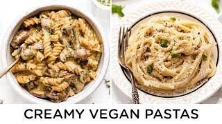 CREAMY VEGAN PASTA RECIPES ‣‣ 2 quick & easy dinner ideas