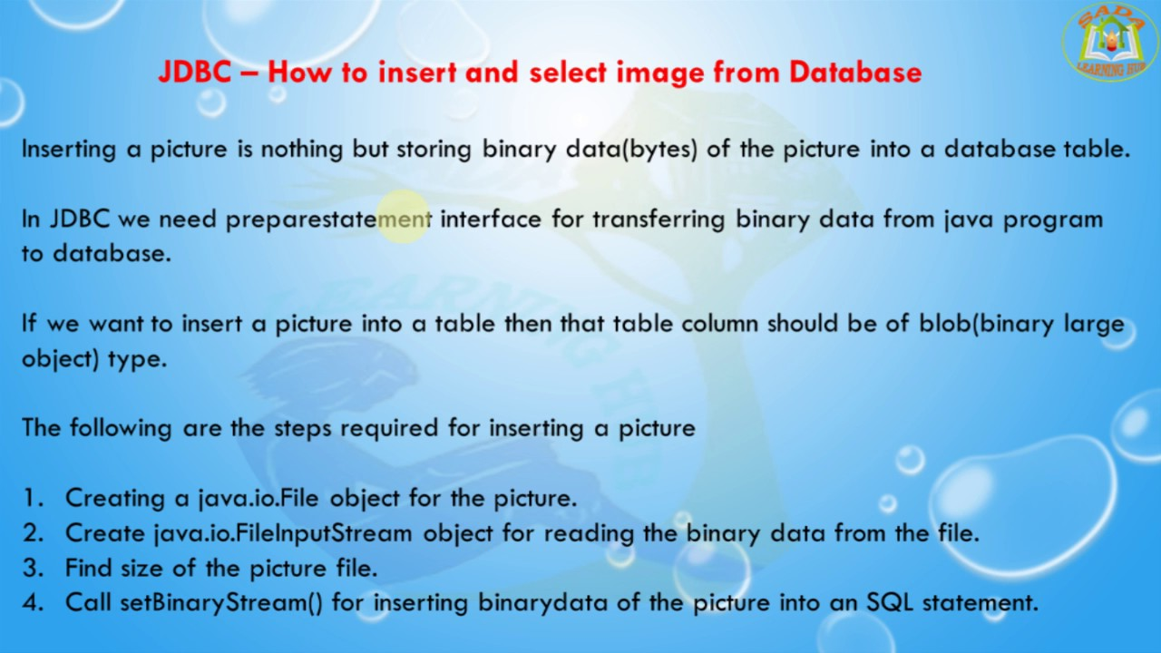 Lesson - 15 : JDBC - How to insert and select image from Database