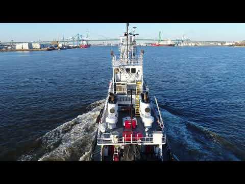 Aerial Drone Video of Tugboat Bering Sea Delaware River Philadelphia