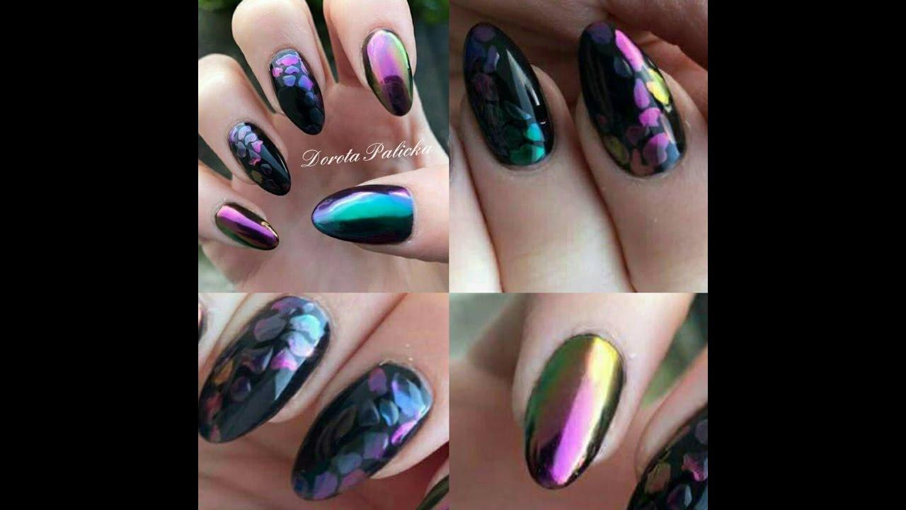 Chameleon gel nails, chrome nail design, pigment nails step by step ...