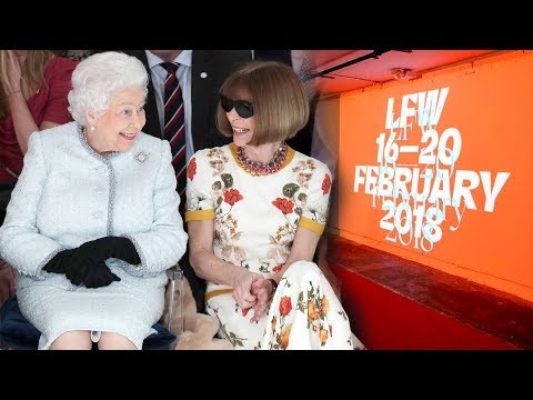 The Queen shocks London Fashion Week as she sitting next to Anna Wintour in the front row