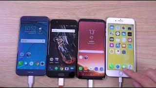 Honor 8 Pro vs OnePlus 5 vs Galaxy S8+ vs iPhone 7+ Battery Drain Test!