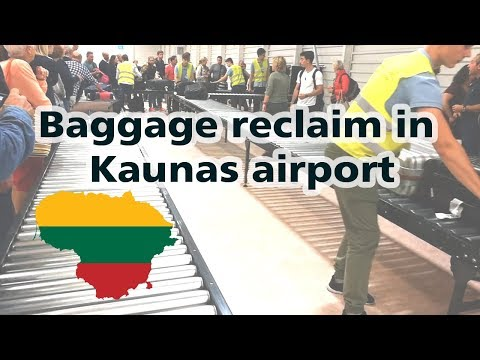 Baggage reclaim in Lithuania. Kaunas international airport. Arrival.