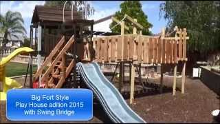 Fort Style Play House Addition 2015 Backyard Fort Swing Bridge Diy