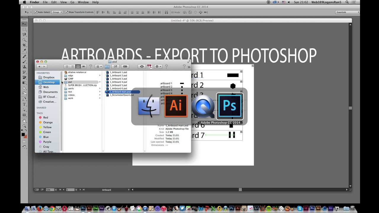 Illustrator CC : Artboards and exporting PSD to photoshop tutorial