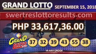 PCSO LOTTO RESULTS SEPTEMBER 15 2018 9PM all draw (6/55 result w/ jackpot of 33M)