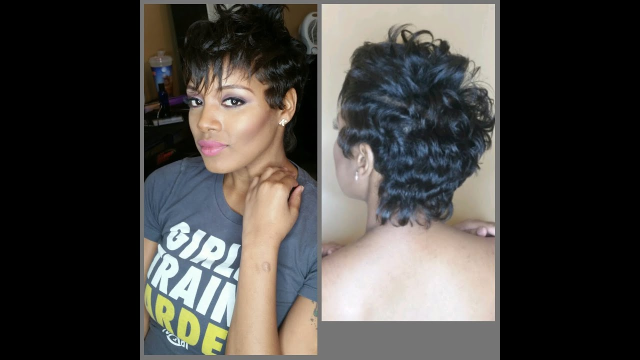 HOW TO STYLE YOUR PIXIE CUT INTO CURLY FAUX HAWK With WAVES AND NATURAL  NUDE MAKEUP TUTORIAL