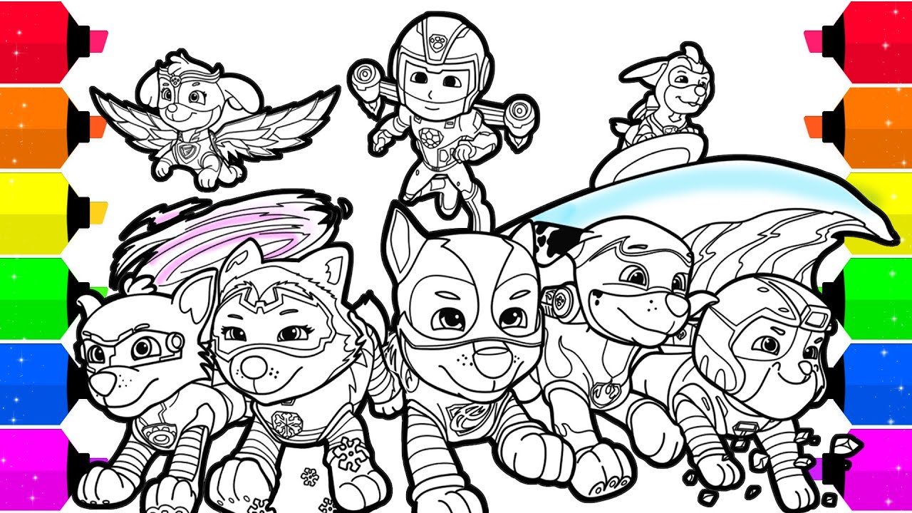 Paw Patrol Mighty Pups Coloring Pages For Kids Youtube