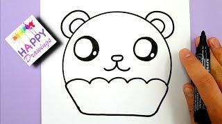 easy draw step panda cupcake