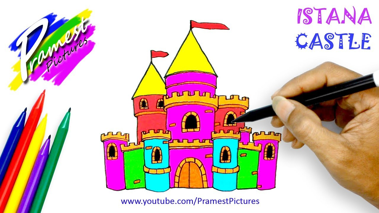 How To Draw Castle Coloring Pages For Kids