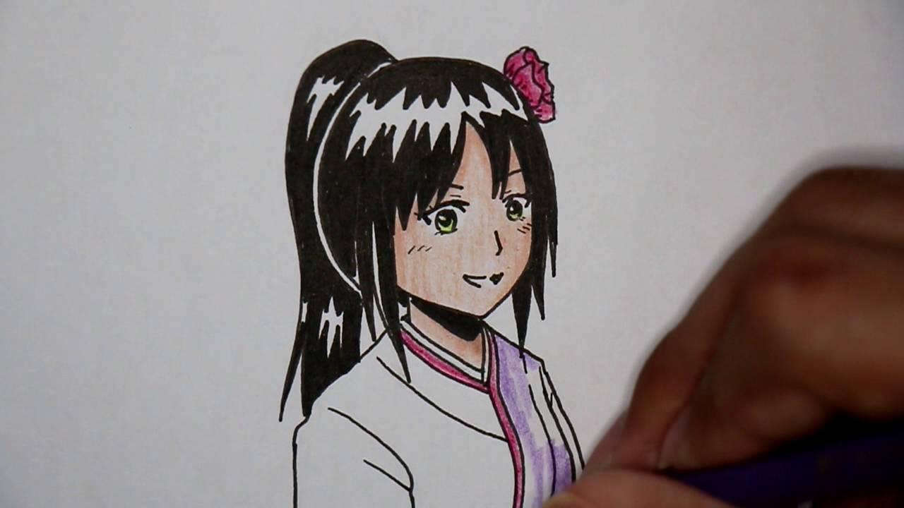 How To Draw Japanese Girl With Kimono  Drawing Tv Id