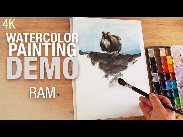 🎨 Demo aquarelle   peindre un bélier sur une colline