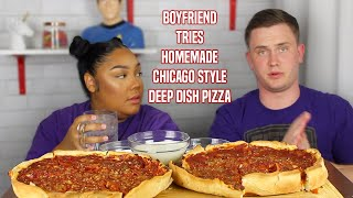 MAKING MY BOYFRIEND CHICAGO DEEP DISH PIZZA RECIPE | MUKBANG