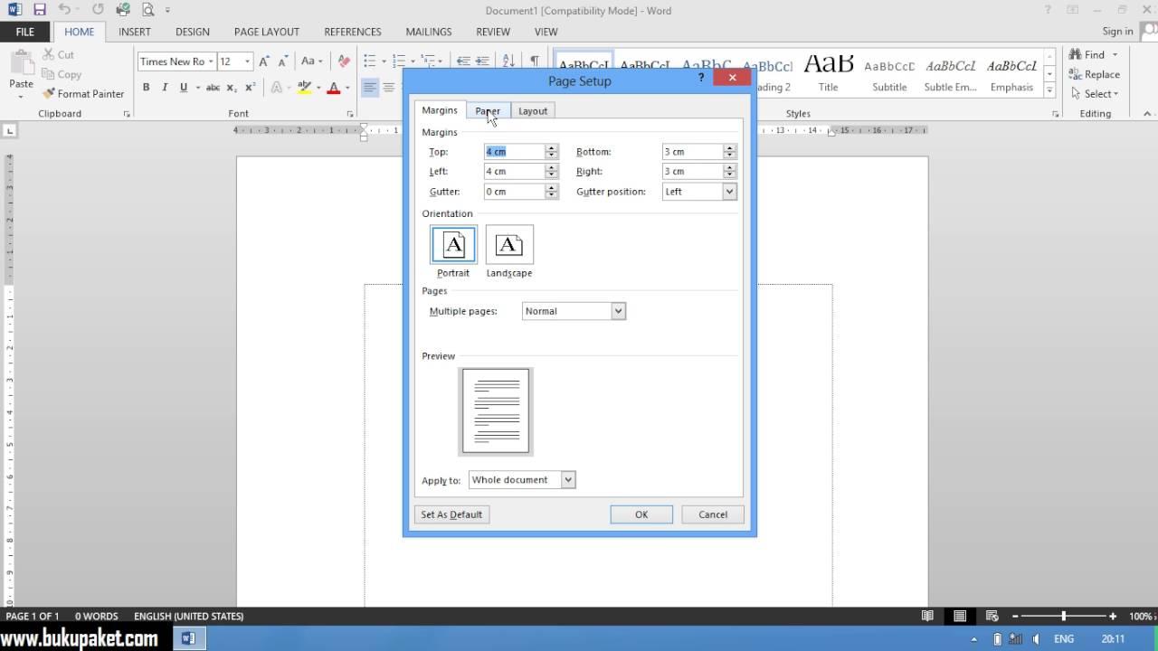 Cara Mengubah Ukuran Kertas Menjadi F4 Pada Microsoft Word Youtube