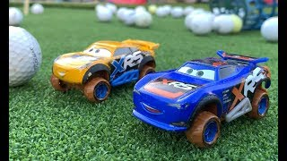 Disney Cars Xtreme Racers Cruz Ramirez & Barry Depedal Play Rocket League Golf in Real Life