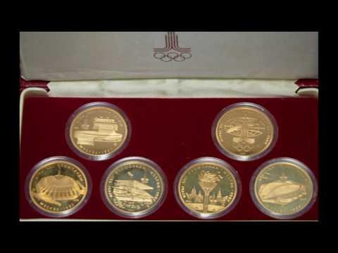 набор золотых монет номиналом 100 рублей XXII Олимпийским играм 1980 года в Москве цена стоимость