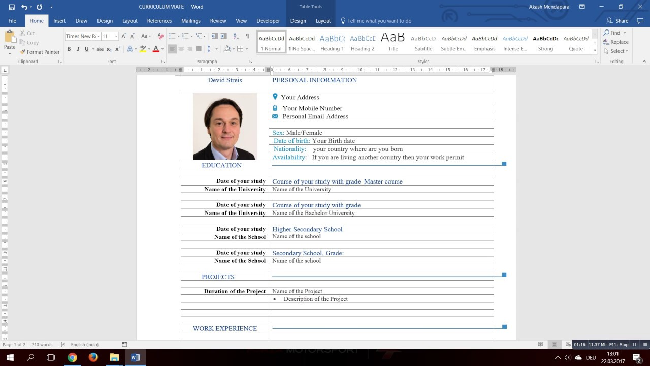 How To Make A Curriculum Vitae In Word 2016