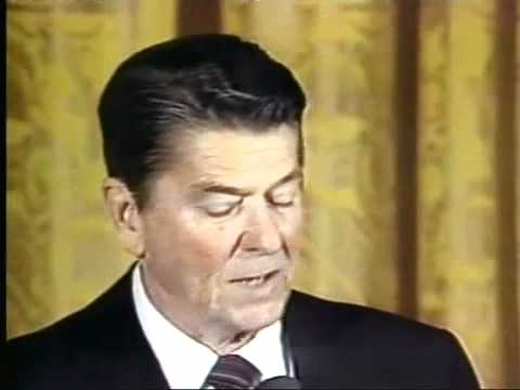 Ronald Reagan dedicates the Space Shuttle Columbia to the Taliban