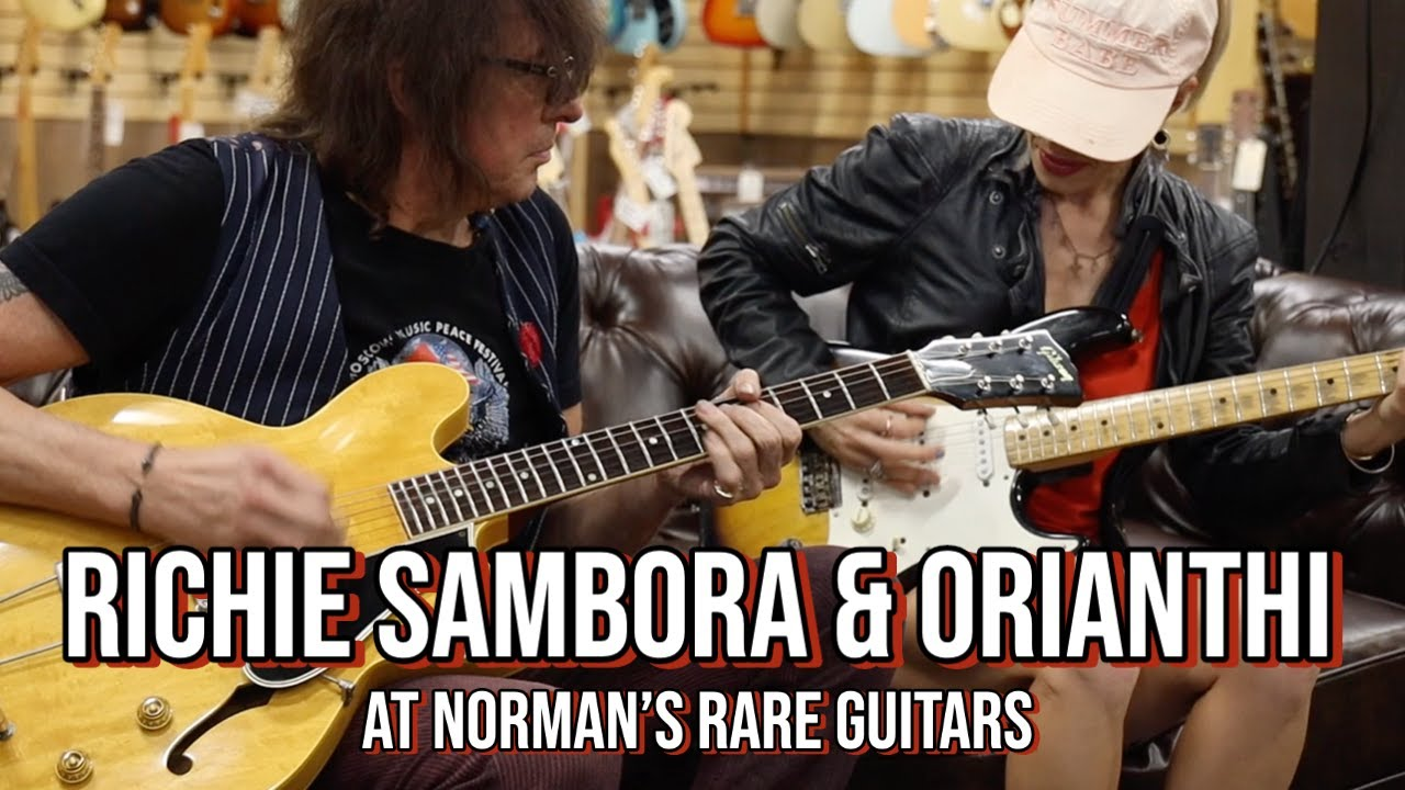 Richie Sambora and Orianthi visits Norman's Rare Guitars