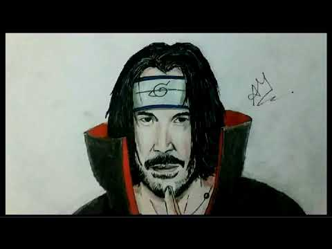 First Time Video Lapse Drawing Of John Wick As Itachi Uchiha From Naruto Youtube