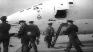 Royal Air Force's new huge sleek Victor-Bomber in its ultra modernistic appearanc...HD Stock Footage