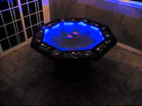 MY 8 PERSON OAK POKER TABLE WITH LIGHTS