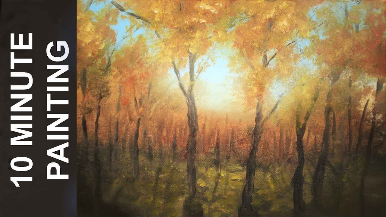 Painting A Fall Forest Landscape With Acrylics In 10