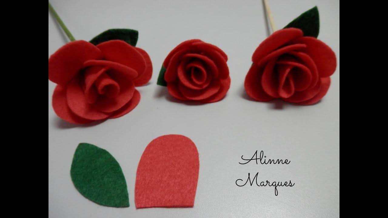 Artesanato Sustentável O Que É ~ Rosa de feltro #6 Artesanato Passo a passo YouTube