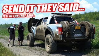 OFF ROADING OUR 200K RACE TRUCK GOES HORRIBLY WRONG ON THE FIRST RUN! *FORD RAPTOR FAIL*