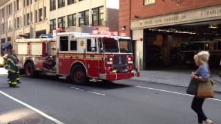 FDNY ENGINE 1 RETURNING TO QUARTERS ON WEST 31ST IN THE MIDTOWN AREA OF MANHATTAN IN NEW YORK CITY.